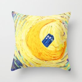 Tardis Flying With Circle Throw Pillow