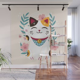 Japanese Lucky Cat with Cherry Blossoms Wall Mural