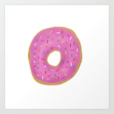 Pink Frosted Donut Art Print