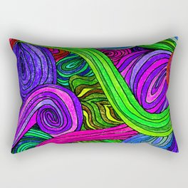 Psychedelic Lines (Green) Rectangular Pillow