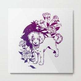 Mini Poodle with Peonies | Magenta & Purple Ombré Metal Print