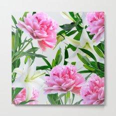 Pink Peonies & White Lilies Metal Print