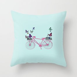 Pink bicycle with butterflies Throw Pillow