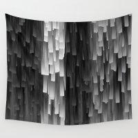 fringe Wall Tapestries featuring Fringe (Black and White) by Jacqueline Maldonado