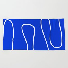 Blue Abstract Wave Beach Towel