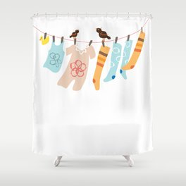 Clothes Line Shower Curtain