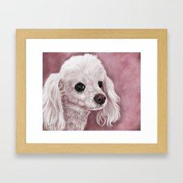 White Poodle Painting Portrait Framed Art Print