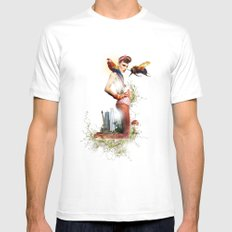 Bumblebee MEDIUM White Mens Fitted Tee