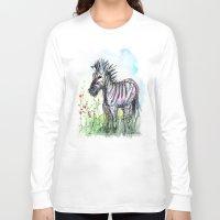 zebra Long Sleeve T-shirts featuring Zebra by Olechka