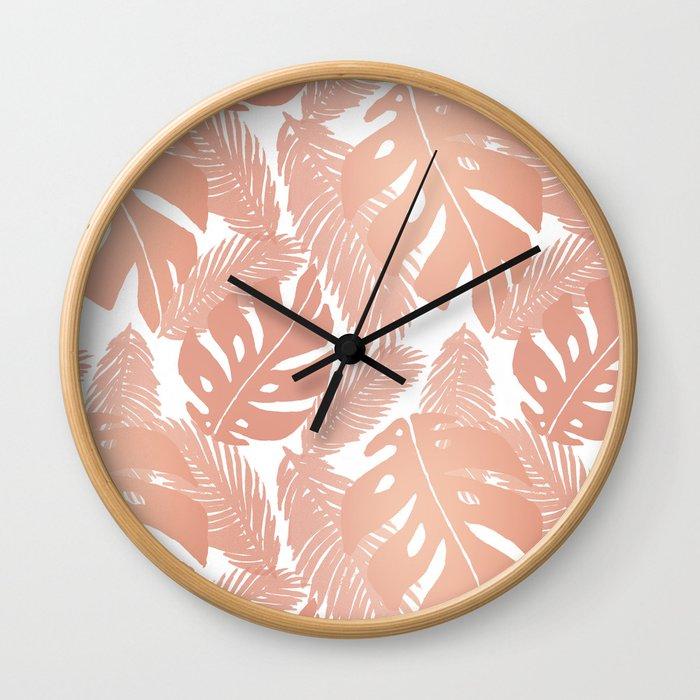 Rose Gold Tropical Leaf Pattern Wall Clock