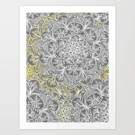 Yellow & White Mandalas on Grey Art Print