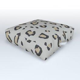 Wildcat Big Leopard Print in Stone Gray Outdoor Floor Cushion