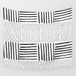 Black white watercolor modern brushstrokes pattern Wall Tapestry