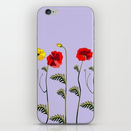 A Garden of Red and Yellow Poppies iPhone Skin
