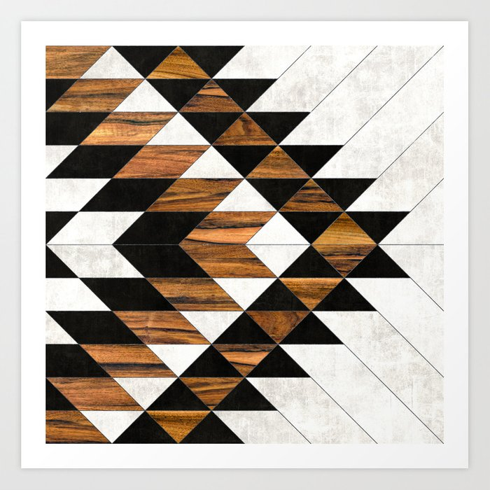 Urban Tribal Pattern 40 Aztec Concrete And Wood Art Print By Best Urban Pattern