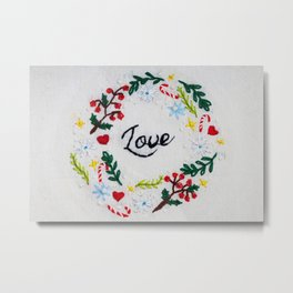 Love Christmas Embroidery Metal Print