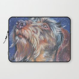 The wirehaired Dachshund dog art portrait from an original painting by L.A.Shepard Laptop Sleeve