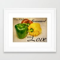 sayings Framed Art Prints featuring Pepper Kitchen Sayings by Moonlake Designs