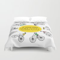 tour de france Duvet Covers featuring Yorkshire Tour de France Grand Départ V by Holly Fisher@SpenceCreative