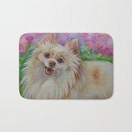 White Pomeranian in the rose garden Cute miniature spitz dog portrait Oil painting on canvas Bath Mat