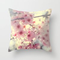 cherry blossom Throw Pillows featuring cherry blossom by Bunny Noir