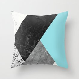 Black and White Marbles and Pantone Island Paradise Color Throw Pillow
