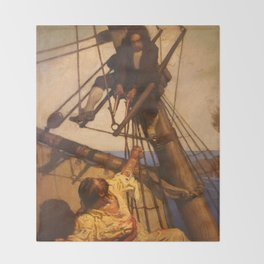 One more step Mr. Hands - N.C. Wyeth painting Throw Blanket