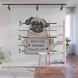 mugshot dog cartoon. Wall Mural