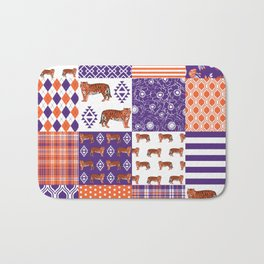 University clemson orange and purple quilt pattern tiger pattern gifts college sports football Bath Mat
