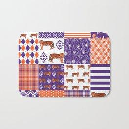 University clemson orange and purple quilt pattern tiger pattern gifts college sports football Bath Mat