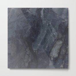 Navy Blue Marble Metal Print