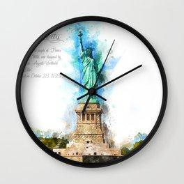 Statue of Liberty, Watercolor Wall Clock