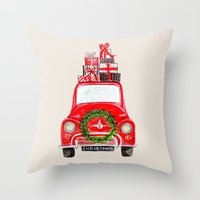 craftberrybush Throw Pillows featuring Red Christmas Car  by craftberrybush