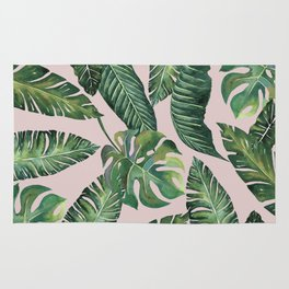 Jungle Leaves, Banana, Monstera Pink #society6 Rug