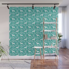 Brittany Spaniel florals silhouettes dog breed pet portrait gifts blue Wall Mural