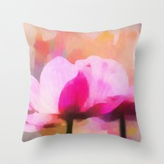 Anemone abstract hand painted Throw Pillow