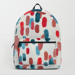 Watercolor Ovals - Red, Blue & Cream Backpack