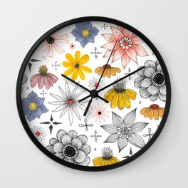 eclectic flower pattern Wall Clock