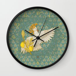 Hoopoe Parrot and Citrus Wall Clock