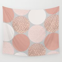 rose gold Wall Tapestries featuring Rose Gold Dots by Georgiana Paraschiv