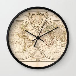 Mappemonde a l'usage du roy (World Map from 1720) Wall Clock