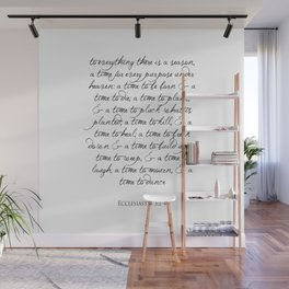 To every thing there is a season Religious Bible Verse Quote -  Ecclesiastes 3 Wall Mural