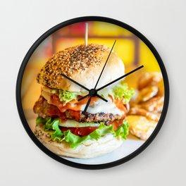 Enjoy Your Burger, Tasty Juicy American Beef Burger, Fast-Food Restaurant, Food Photography Wall Clock