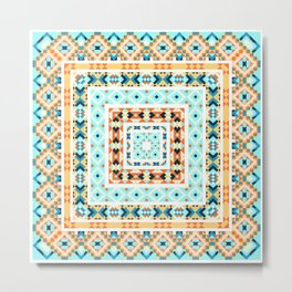 Ethnic geometric pattern with elements of traditional tribal folk style. Metal Print