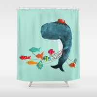 fish Shower Curtains featuring My Pet Fish by Picomodi