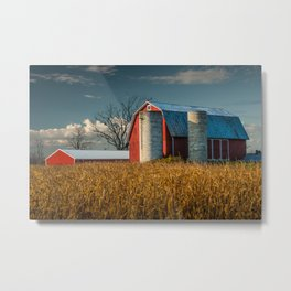 Red Barn and Cornfield in West Michigan on a Sunny Day Metal Print