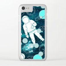 Astronaut Space Teal Turquoise Blue Green Planet Mod Pattern Clear iPhone Case