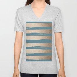 Painted Stripes Gold Tropical Ocean Blue Unisex V-Neck