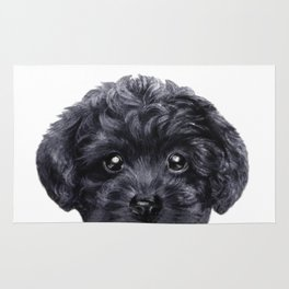Black toy poodle Dog illustration original painting print Rug