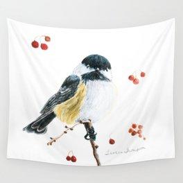 Christmas Chickadee by Teresa Thompson Wall Tapestry